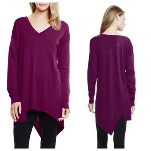 Vince Camuto Sweaters - Vince Camuto Drop Stitch V-Neck Sweater Plum Med